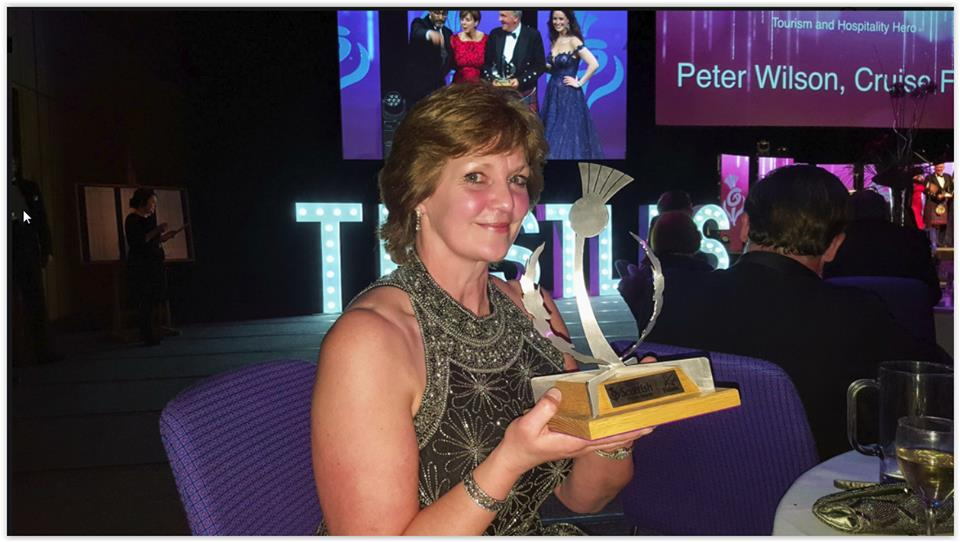 Kim with Scottish Thistle Award trophy