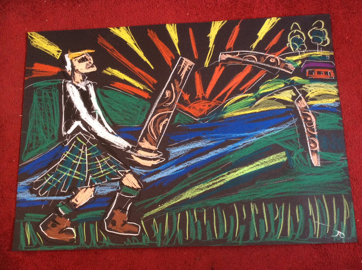 Tossing The Caber at Lochearnhead Highland Games -wax drawing