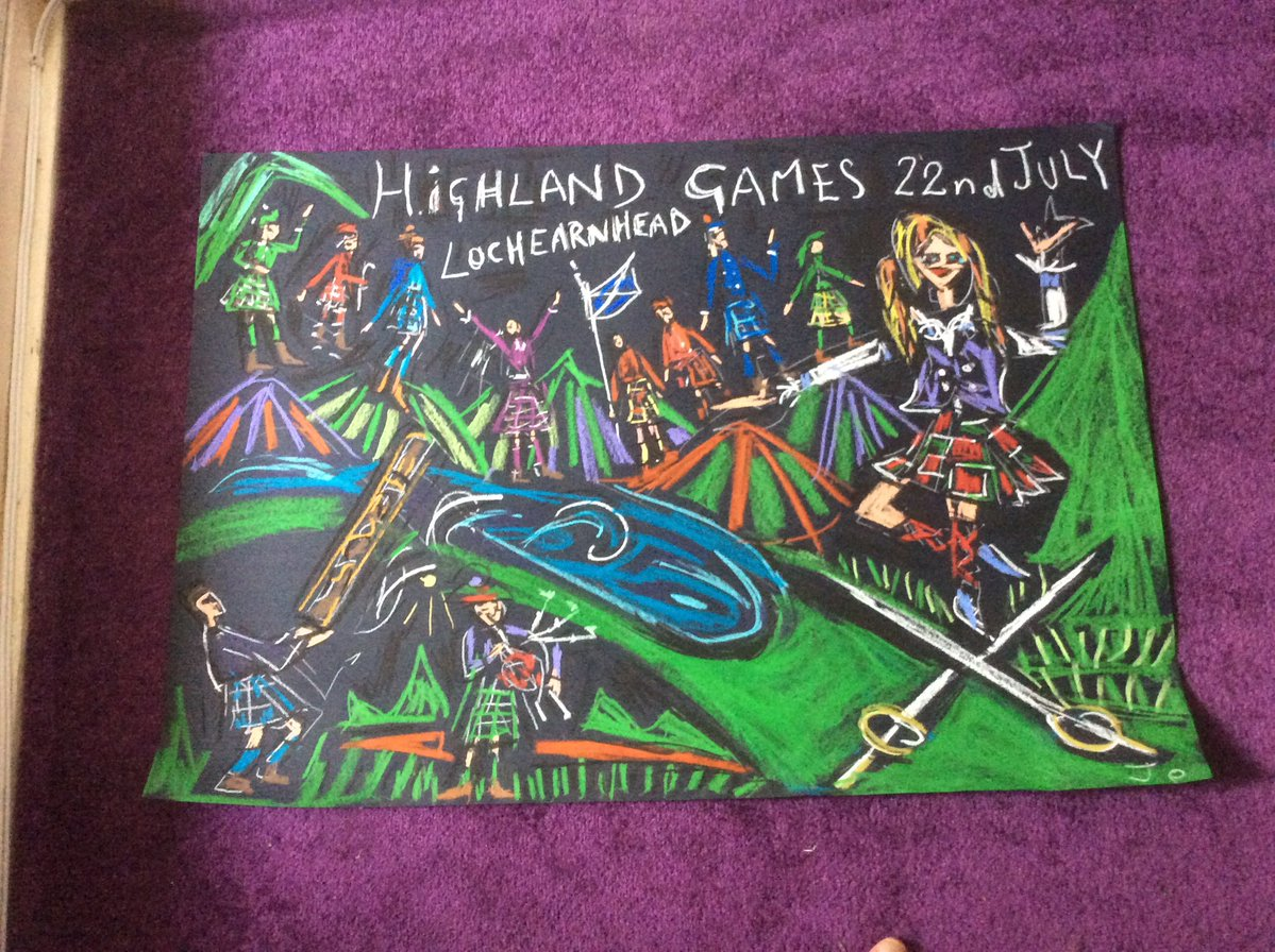 Highland Games wax drawing by JoSunshineArt